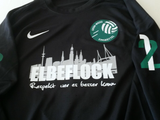Trikotbedruckung Grün-Weiß Eimsbüttel - Sponsor Elbeflock